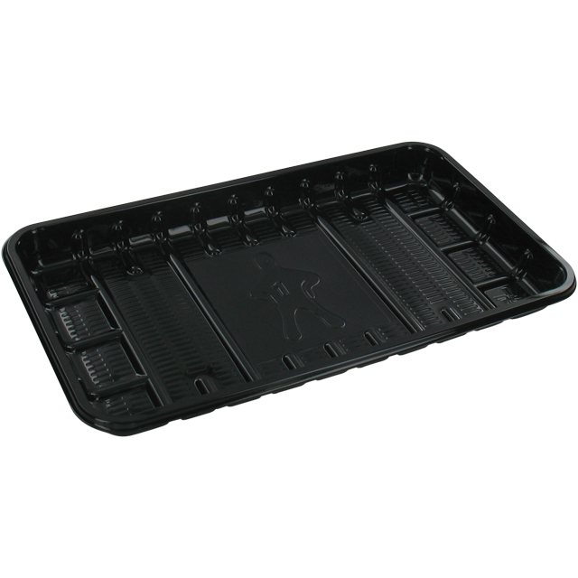Catering serving tray , meat tray, PET, 73, rectangular, 225x135mm, black 1