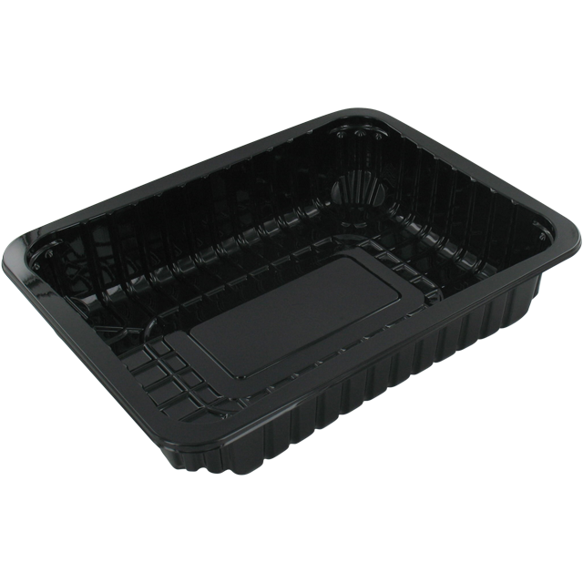 Catering serving tray , meat tray, PET, 78/45, rectangular, 220x170mm, black 1