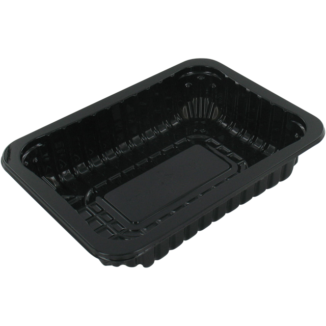 Catering serving tray , meat tray, PET, 70/38, rectangular, 183x135mm, black 1