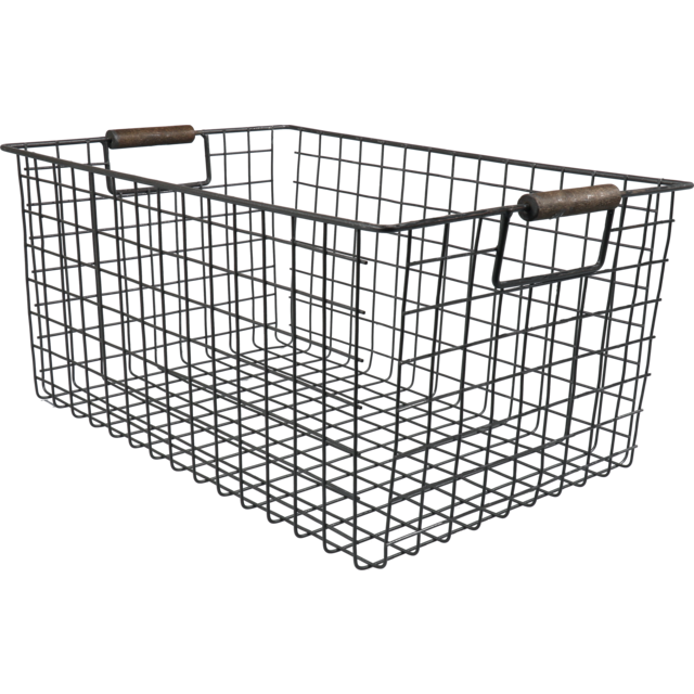 Basket, 40x27x17cm, rectangular, black 1