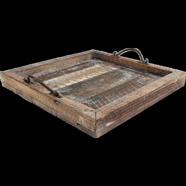 Tablett Holz 42 5x42 5cm Braun Schwarz 439022 Neutraal