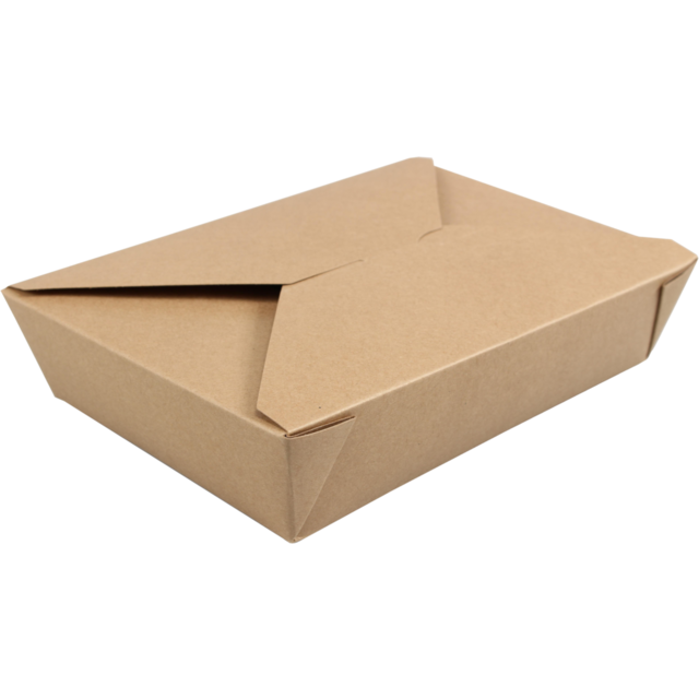 Container, Cardboard and PLA, snack box, 215x158x48mm, brown 1