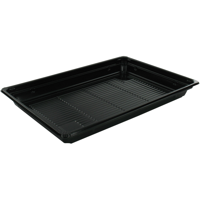 Container, PET, sushi tray, 212x143x22mm, black 1