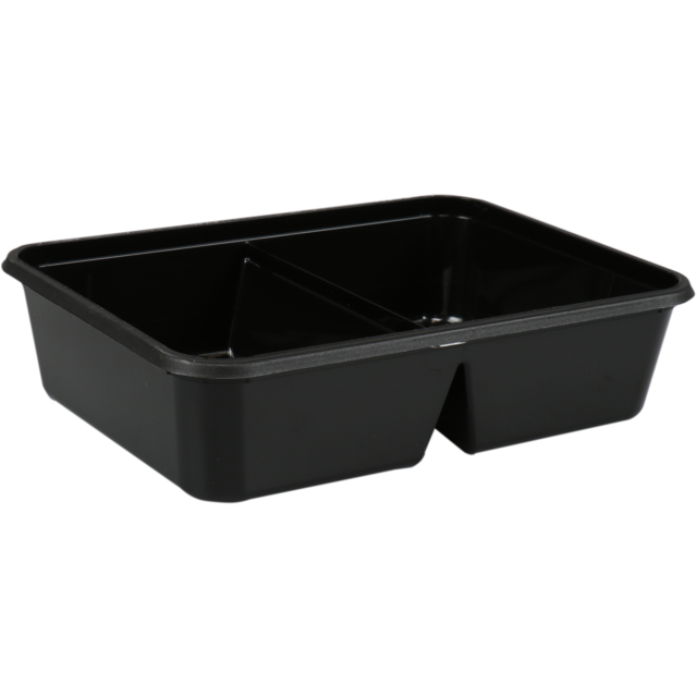 Container, PP, 2 compartment, 350ml, kilo container, 182x135x45mm, black 1