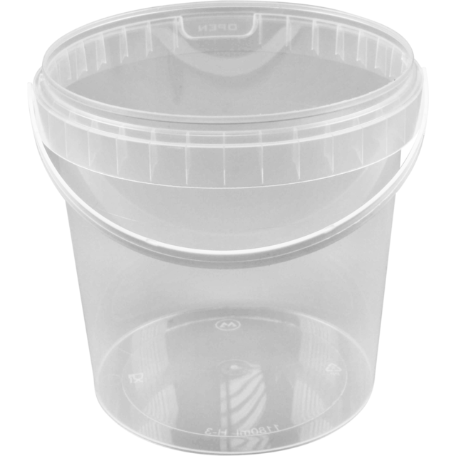 Container, PP, 1180ml, Ø133mm, with bracket, with lid, transparent 1