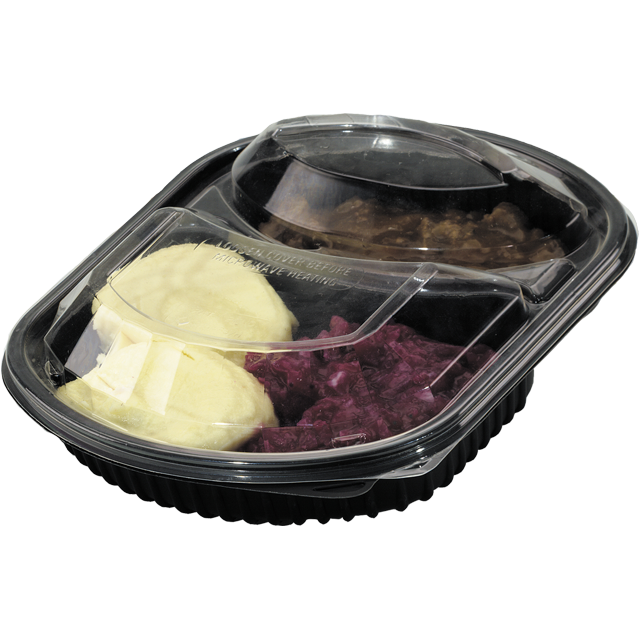 Container, PP, 2 compartment, meal tray, 238x203x38mm, black 1
