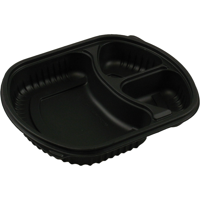 Container, PP, 3 compartments , meal tray, 238x203x38mm, black 1