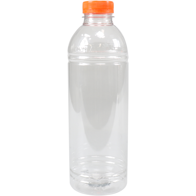 Bottle, pET bottle, Recyclebaar PET, with orange cap, 1000cc, transparant 1