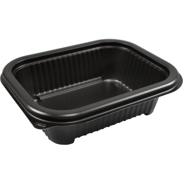 Container, PP, 375ml, menu container, 159x127x44mm, black 1