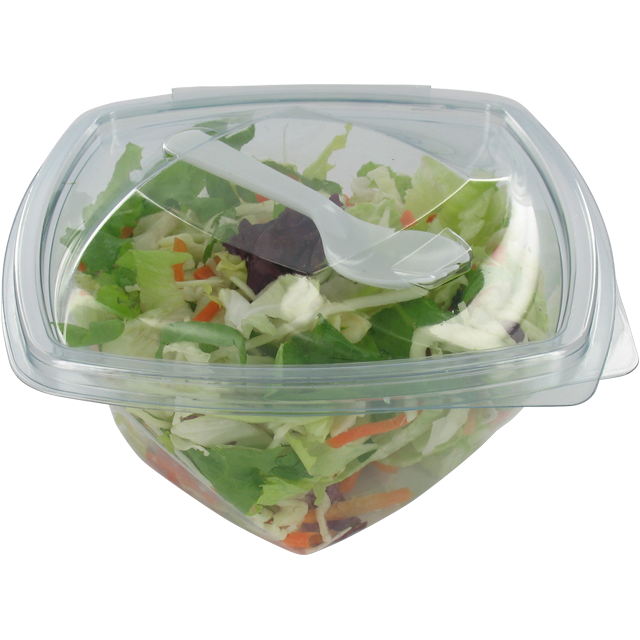 Container, PP, 250ml, salad container, 140x140x45mm, transparent 1