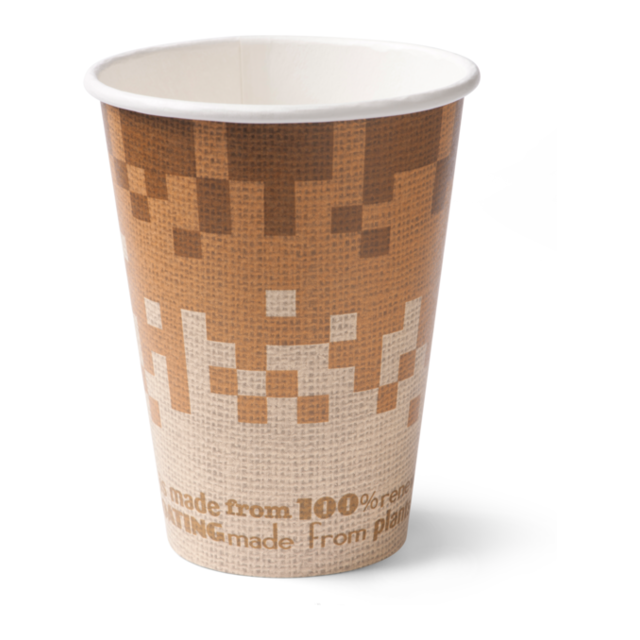 Biodore®, Bio hot cup, Retro Verde, Cardboard and PLA, 300ml, 10oz, brown 1