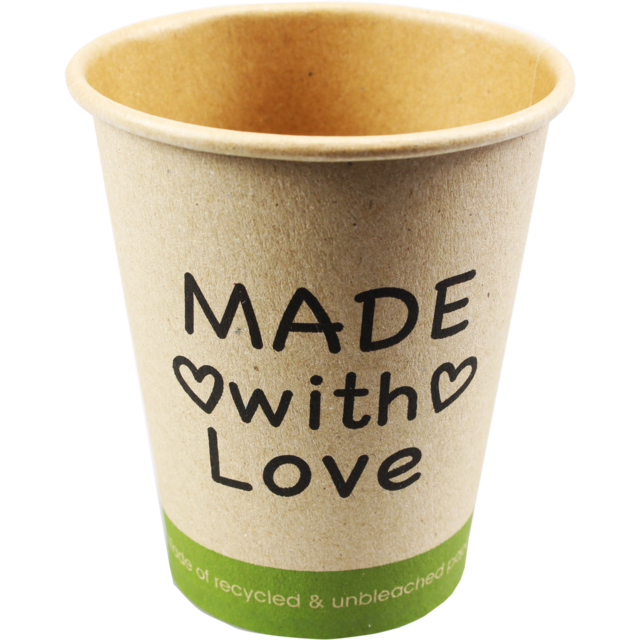 Kaffeetasse, Made with Love, Kraftpapier, 250ml, 8oz, braun 1