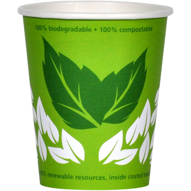 Bio hot cup, Enjoy the World, Karton en PLA, 150ml, 6oz, groen 1