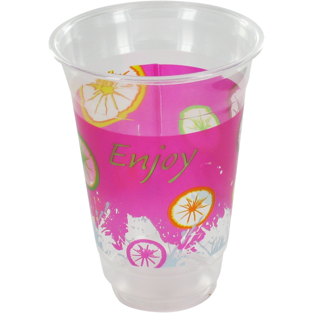 Glass, soft drink glass, PET, 300ml, pink/Transparent 1