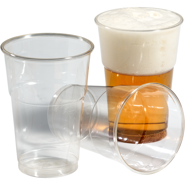 Glass, beer/soft drink glass, tulip, PET, 250ml, 106mm, transparent 1