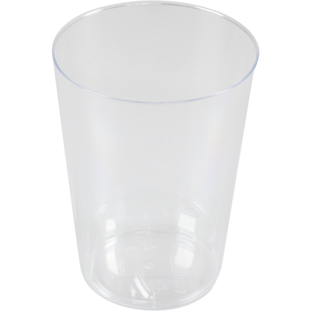 Glass, beer/soft drink glass, PS, 200ml, 105mm, transparent 1