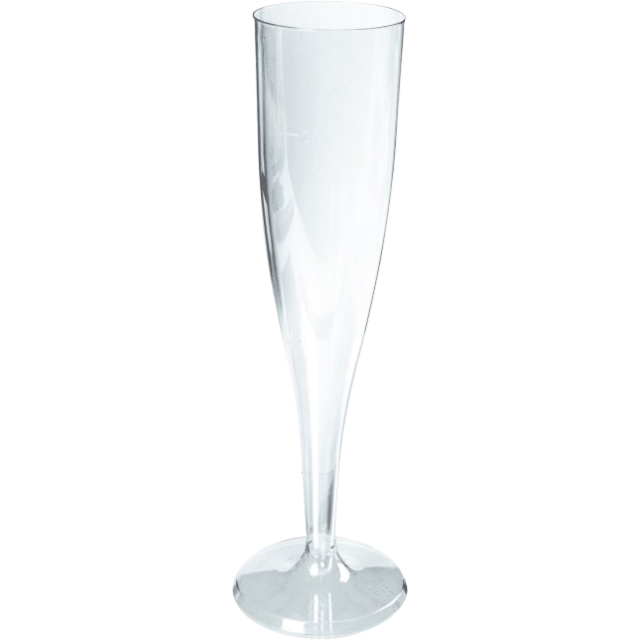 Glas, champagneglas op voet, PS, 100ml, transparant 1