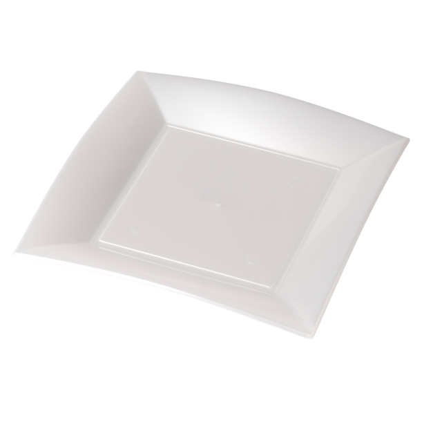 Depa Plate, square ,  pearl, PP, 230x230mm, white 1