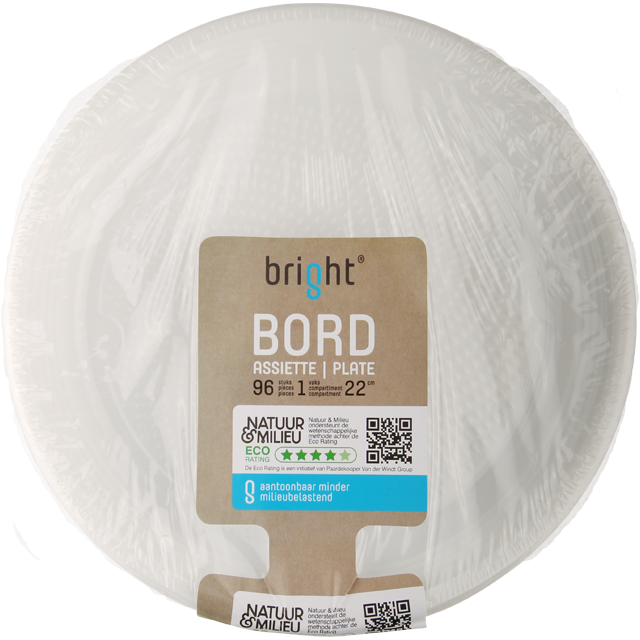 Bright® Bord, rond,  1-vaks, PS, Ø220mm, wit 1