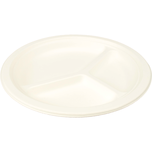 Biodore® Plate, round,  3 compartments , Bagasse, Ø260mm, white 1
