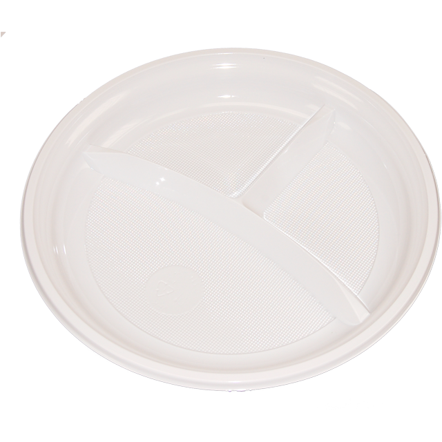 Depa Assiette, ronde,  3 compartiments , PS, Ø220mm, blanc 1