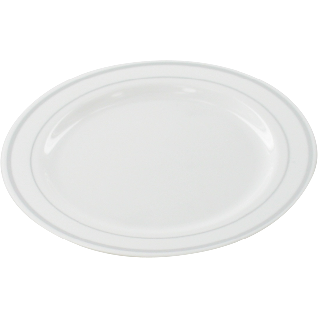 Depa Plate, round,  1 compartment, PS, Ø228mm, white/Silver 1