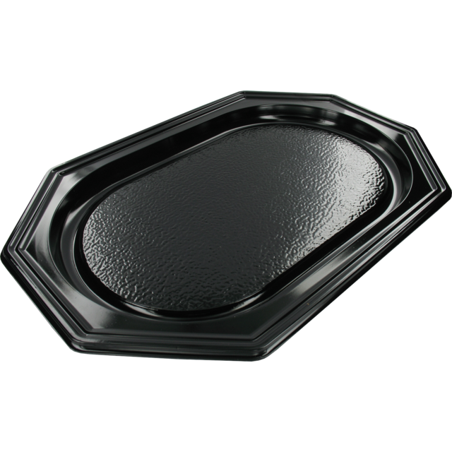 Catering serving tray , catering platter, PS, octagon, 350x250mm, black 1