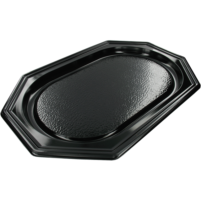 Bowl, catering platter, PS, octagon, 450x300mm, black 1