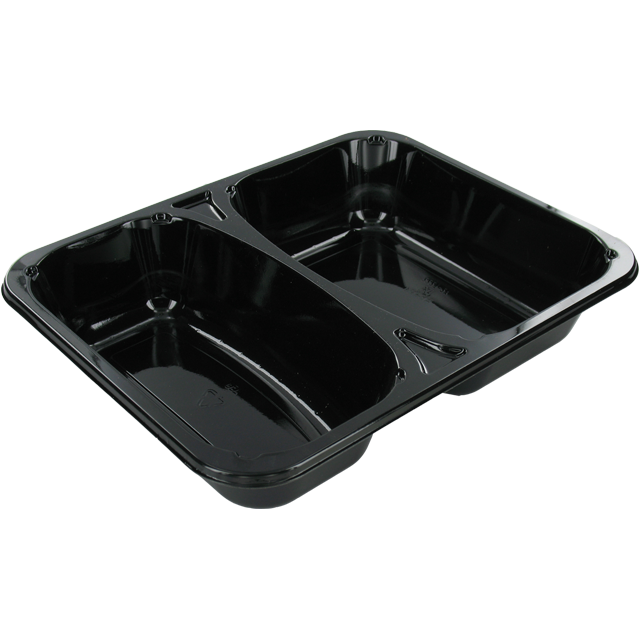 Container, CPET, 2 compartment, 228x178x43mm, black 1