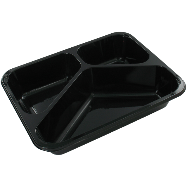 Container, CPET, 3 compartments , menu container, 228x178x43mm, black 1