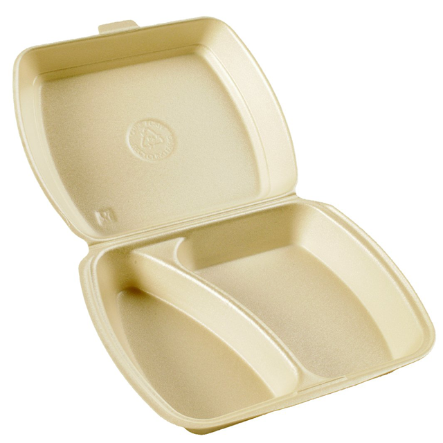 Container, EPS, 2 compartments , menu container, 240x195x72mm, beige 1