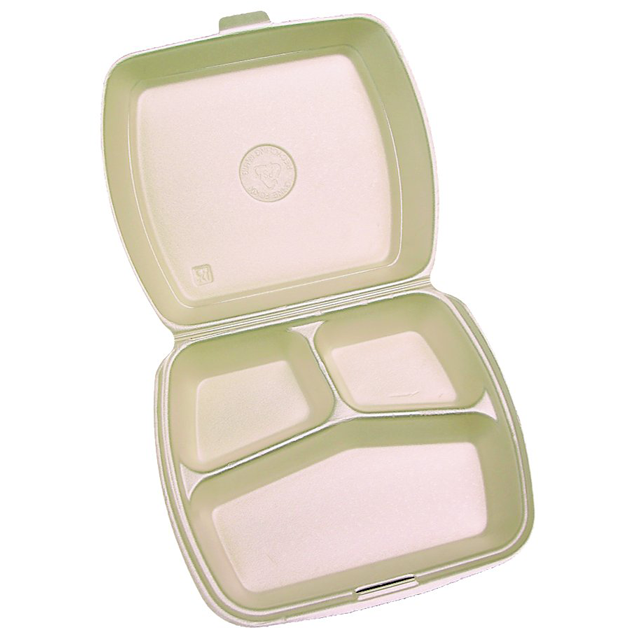 Container, EPS, 3 compartments , menu container, 240x195x72mm, beige 1