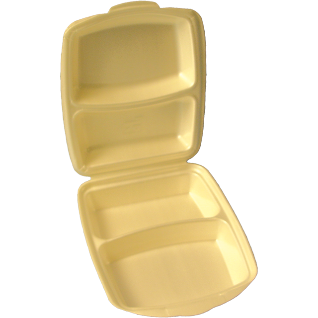 Container, EPS, 1635, 2 compartment, menu container, 260x220x75mm, champagne 1