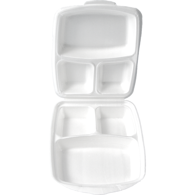 Container, EPS, 1637, 3 compartments , menu container, 260x220x75mm, champagne 1