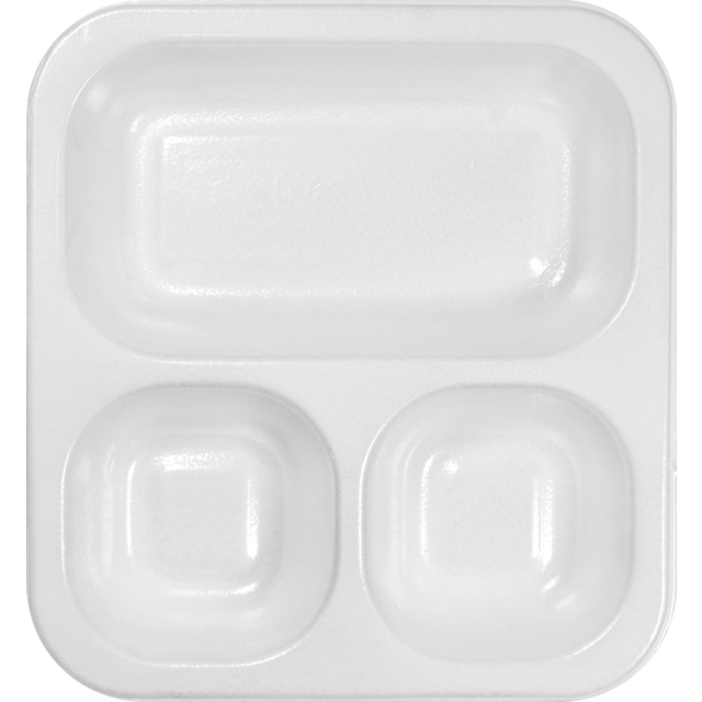 Container, EPS, 603, 3 compartments , menu container, 265x247x40mm, white 1
