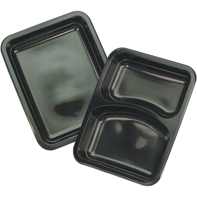 Container, PP, 1 compartment, menu container, 228x178x33mm, black 1