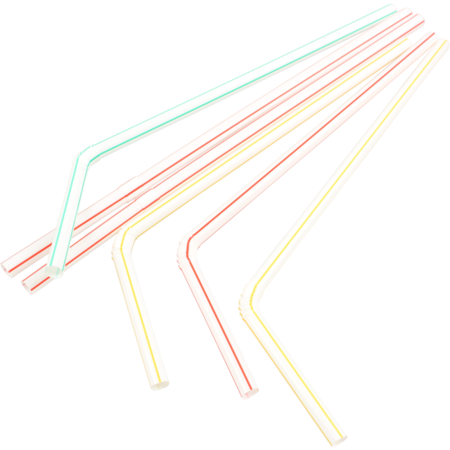 Drinking straw, bendy, PP, 210mm, assorted 1