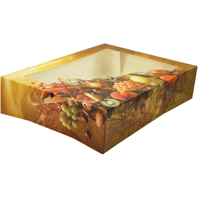 Catering box, Cardboard and plastic, 220x260x75mm, Fruit, with window,  1