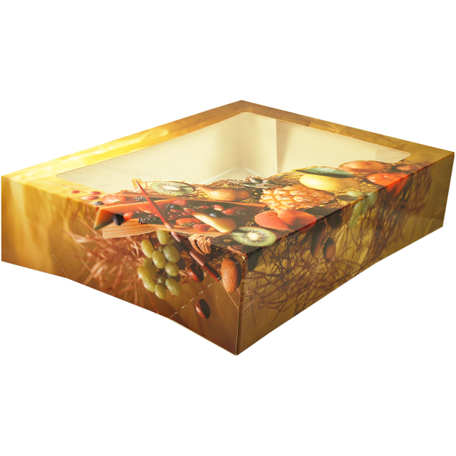Catering box, Fruit, Cardboard and plastic, 330x260x75mm, with window,  1