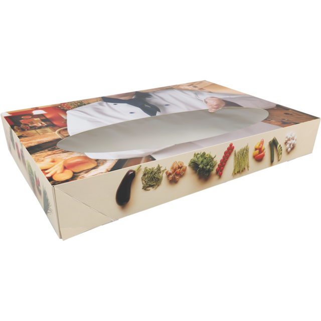 Catering box, Bon appetit, Cardboard, 360x550x80mm, with window, white 1
