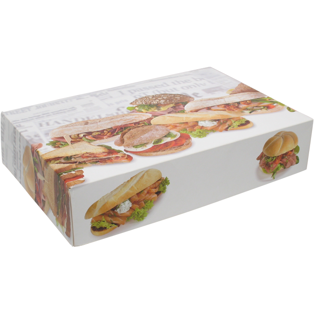 Catering box, Cardboard, 310x460x80mm, Bread rolls, white 1
