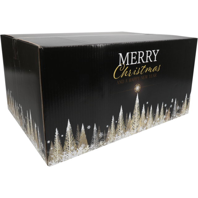 Christmas gift box, Golden Tree, Cardboard, 45x35x23cm, Christmas , d, black 1