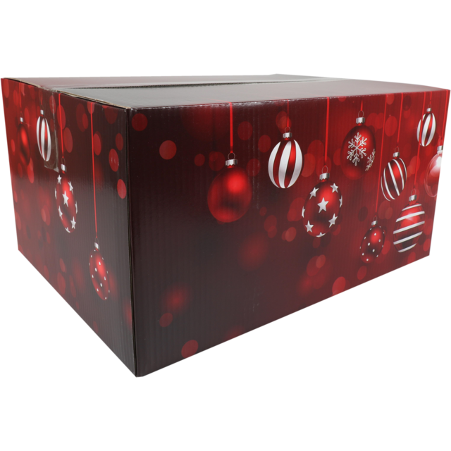 Christmas gift box, Sparkling Holidays, Cardboard, 45x35x23cm, Christmas , d, red 1