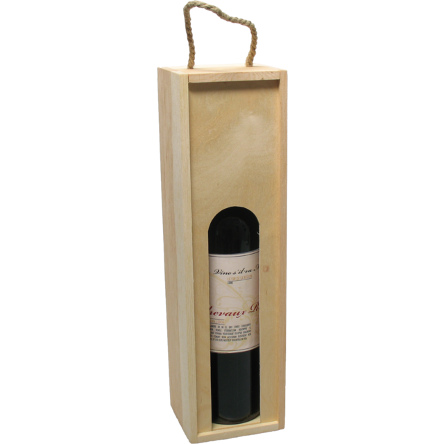Wine box, wood, 1 bottle , with lid, 8.5x35.5x10cm 1
