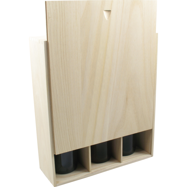 Wine box, wood, 3 bottles , with lid, 9,5x34x28,5cm 1