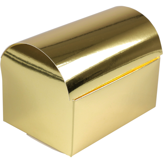 Treasure chest, Cardboard, 90x130x95mm, gold 1