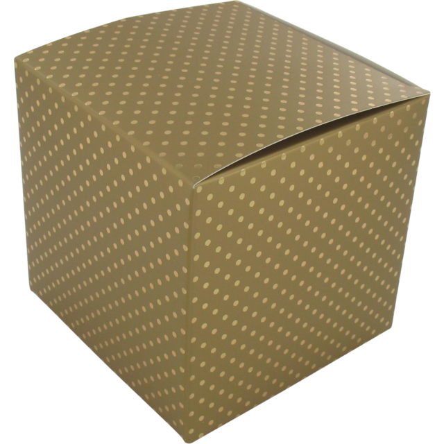 Gift box, Paper, 10x10x10cm, Dot, gold 1