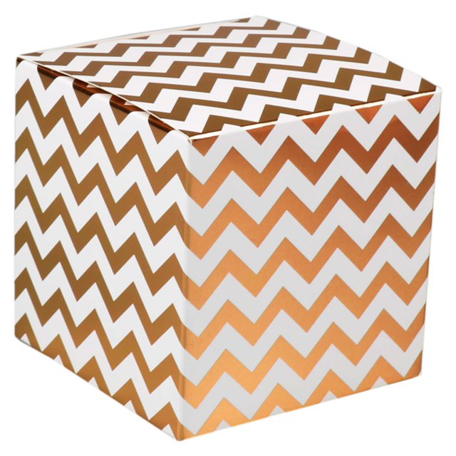 LOVLY® Box, Chevron, 10x10x10cm, wit/Goud 1