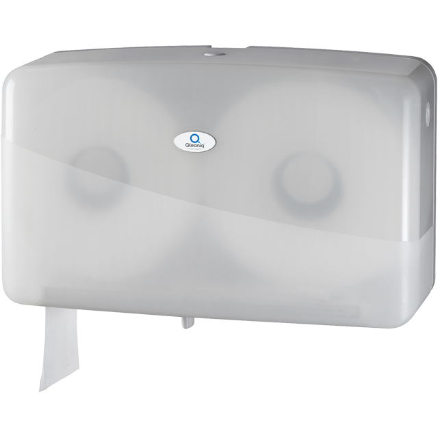 Qleaniq®, Toiletpapierdispenser, Kunststof, design luxury, duo jumbo, wit 1