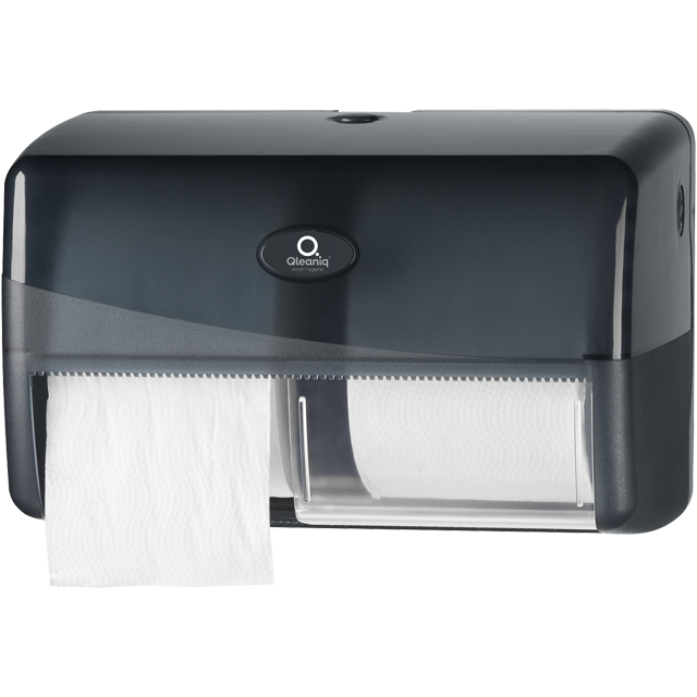 Qleaniq® Toilet paper dispenser, PS, pattern  luxury, compact, black 1